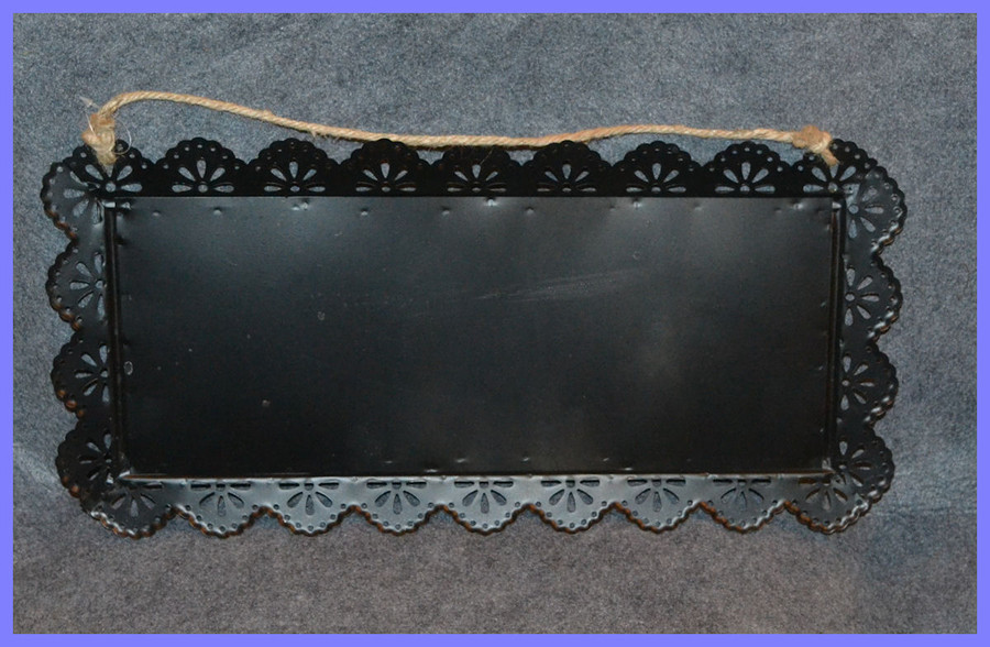 """Metal Black Tray with String Hanger ~ 14"""" x 9"""""""
