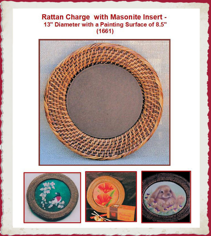 """Plate - Round  Rattan  13"""" Charger with Masonite Insert"""