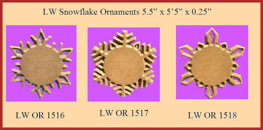 "LW - 6 Point Star Ornament 5.5"" (151616, 151617, 151618)"