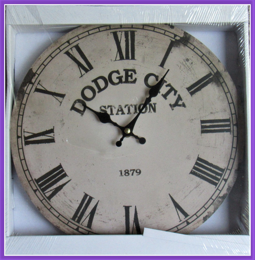 """Clock - Dodge City Station 12"""" Clock, Battery Operated (C20170818)"""