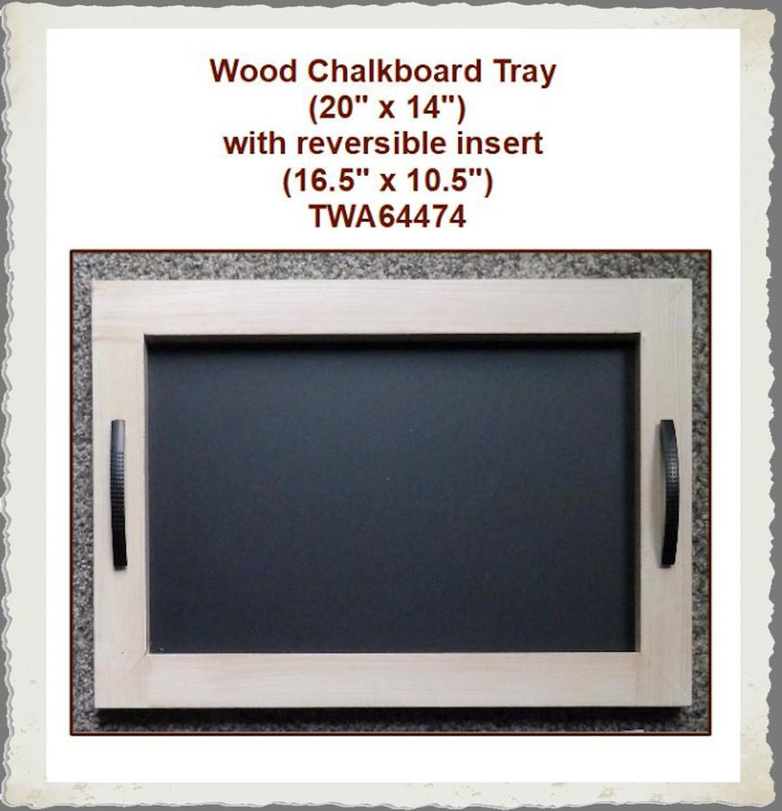"Wood- Chalkboard Tray 20"" x 14"" with Reversable Insert (TWA64474)"
