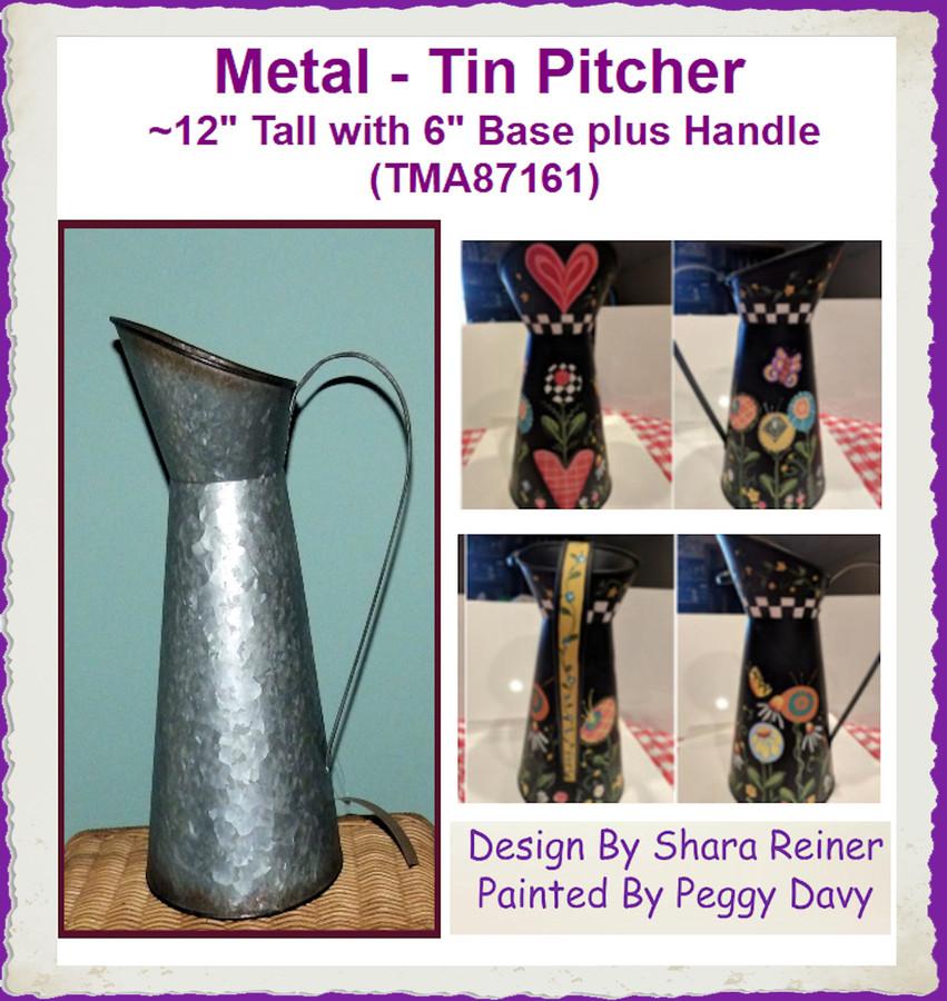 "Metal - Tin Pitcher ~12"" Tall with 6"" Base plus Handle (TMA87161)"