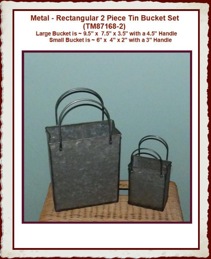 Metal, Bucket rectangular Set of 2 (TM87168-2)