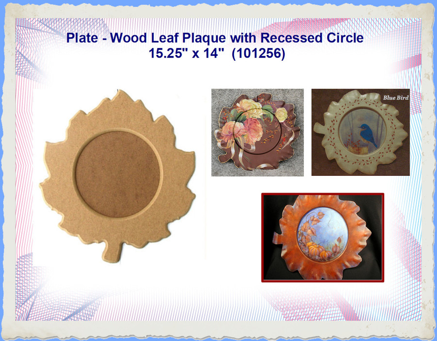 """Plate - Leaf Plaque with Recessed Circle 15.25"""" x 14""""  (101256)"""