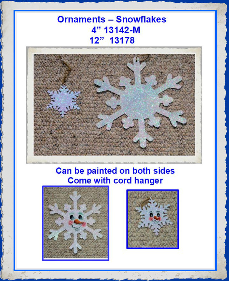"""Ornament -12"""" and 4""""  Coated Metal Snowflakes (131XX)"""