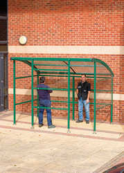 Premier smoking shelter with perspex panels
