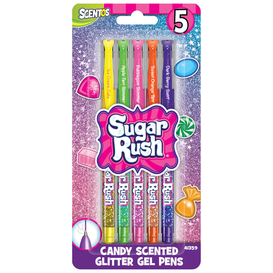Sugar Rush Candy Scented Glitter Gel Pens - 5 Count