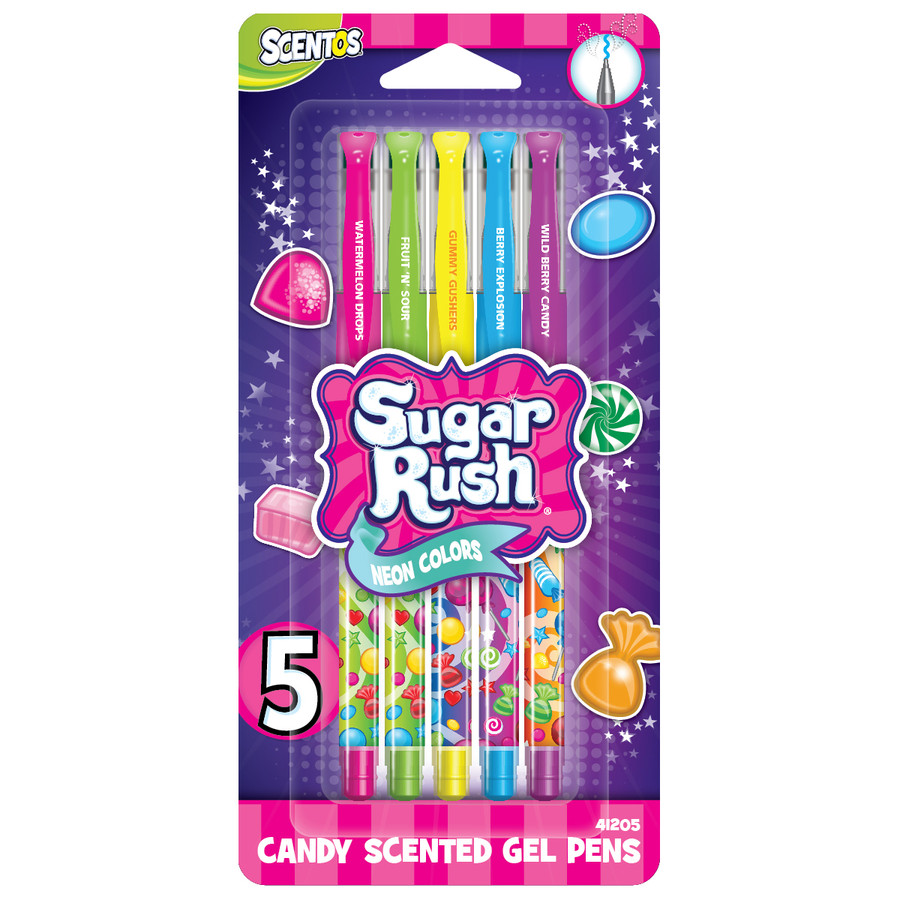 Sugar Rush Candy Scented Neon Gel Pens - 5 Count