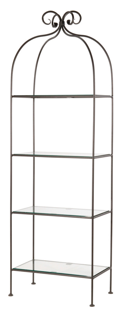 Iron Standing Shelf - Wrapped Scroll - Double Width 4 Tier
