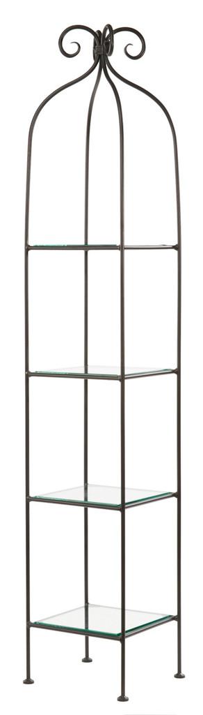 Iron Standing Shelf - Wrapped Scroll - 4 Tier-Narrow