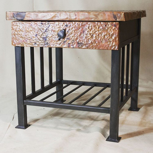 Custom Mission Side Table with Copper Drawer and Top