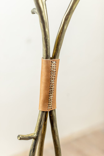 Sassafras Standing Coat Rack with Leather Accent
