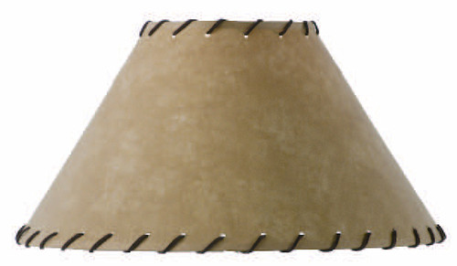 Parchment Lamp Shade with Leather Trim 15 inch