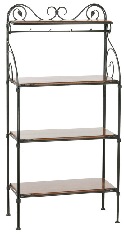 Leaf Hand Forged Iron Bakers Rack 4 Tier