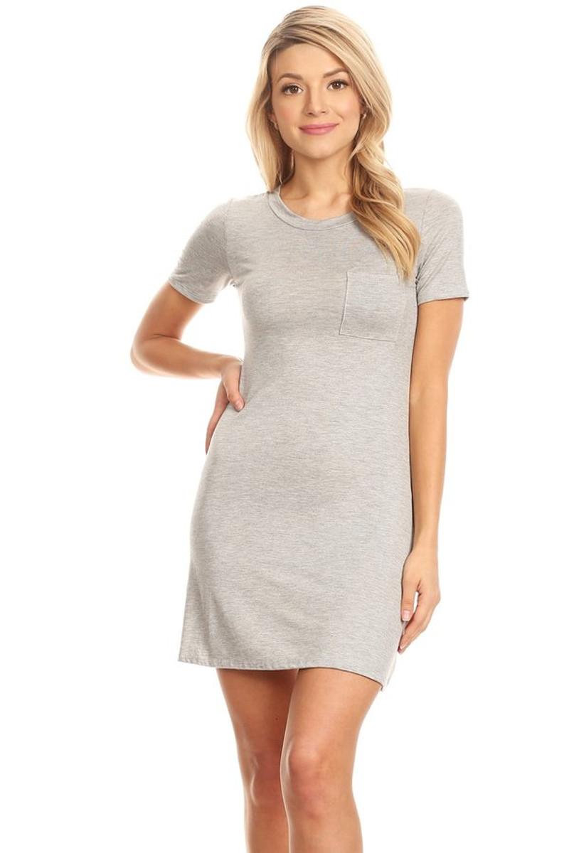 """Soft"" Knit Pocket Tee Shirt Dress"