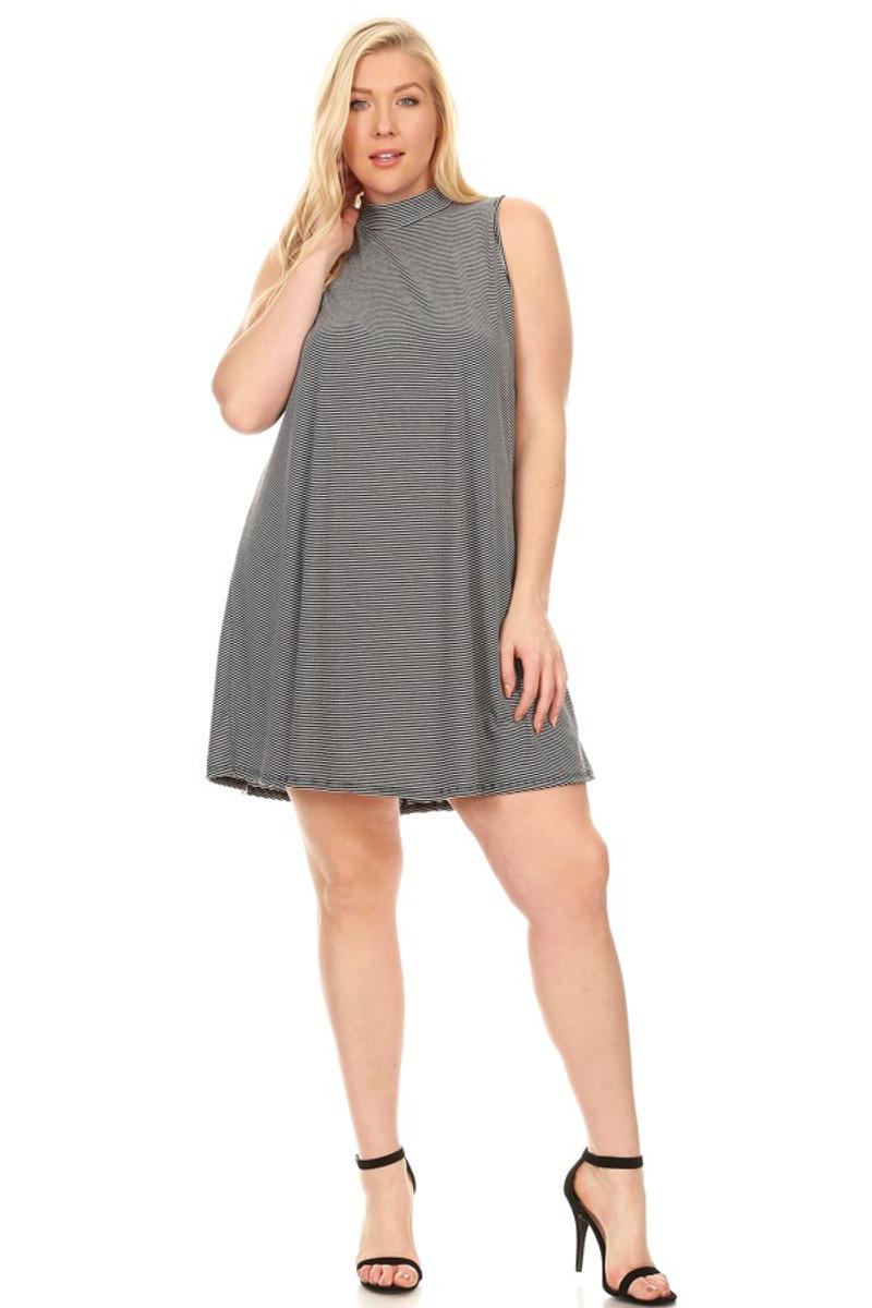 49b8d1299a0a Rib Striped Mini Dress  Black White (Plus) - VIBE Apparel Co.