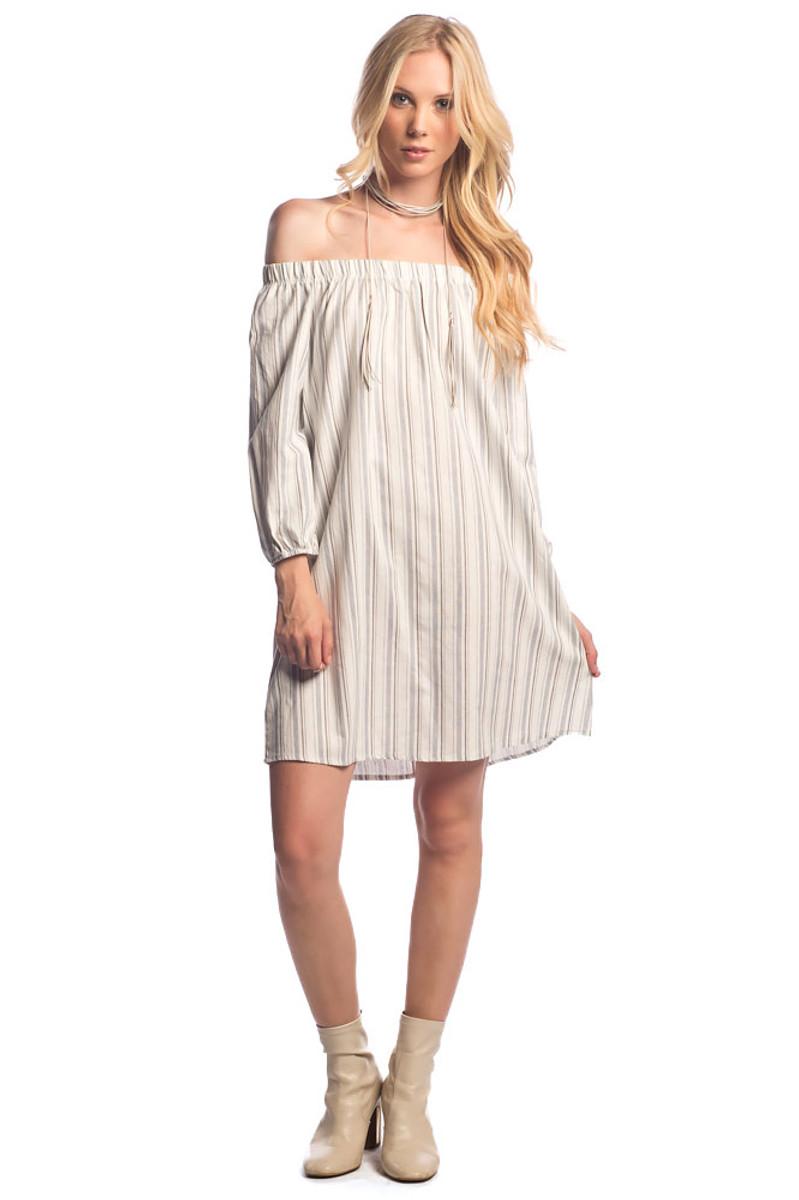 Off  The Shoulder Linen Stripe Dress