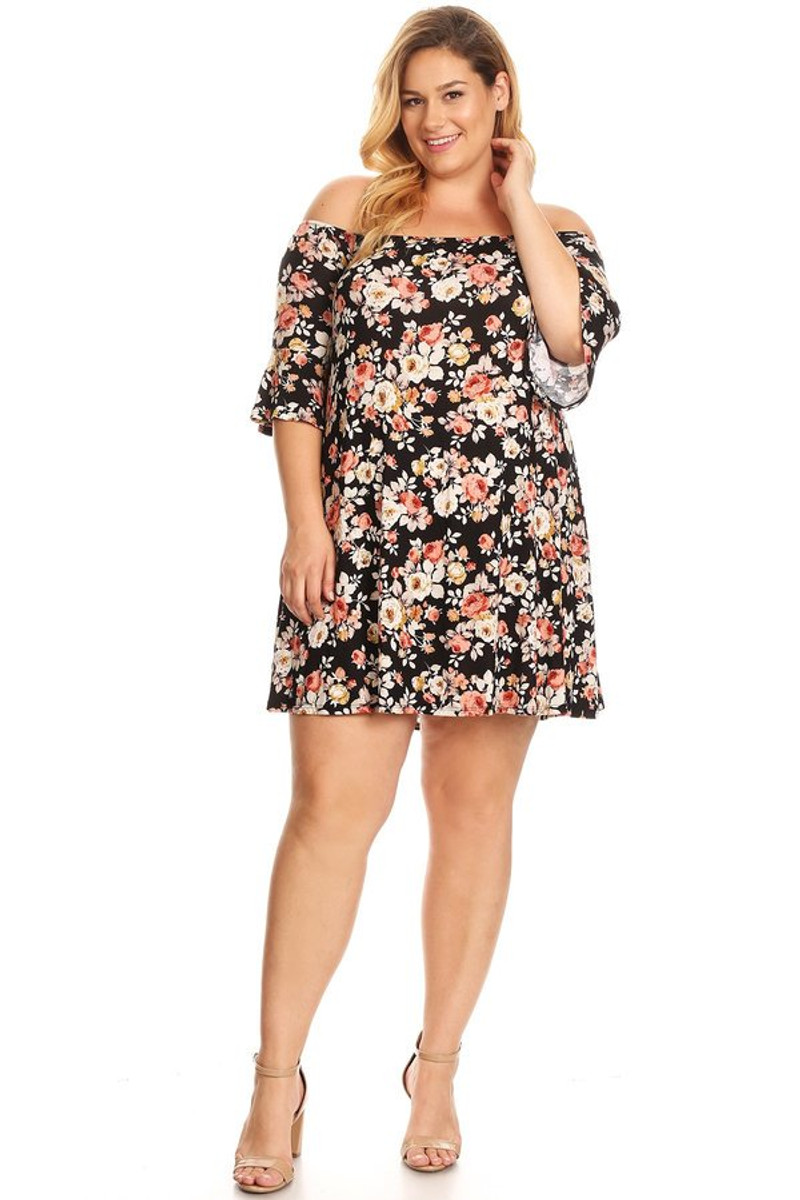 Bell Sleeve Dress: Black Taupe Floral (Plus)