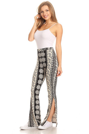 Side Slit Bell Bottom Pant
