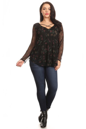 Plus Mesh Floral Long Sleeve Blouse