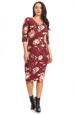 Plus Elbow Sleeve Floral Midi Dress