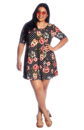 Plus Dot Floral Brushed Swing Dress