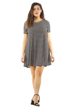 Plus Stripe Shoulder Caging Swing Dress