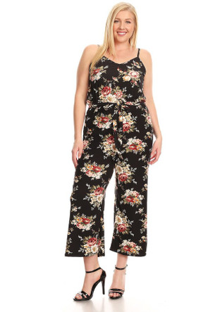 Plus Floral Knit Jumpsuit