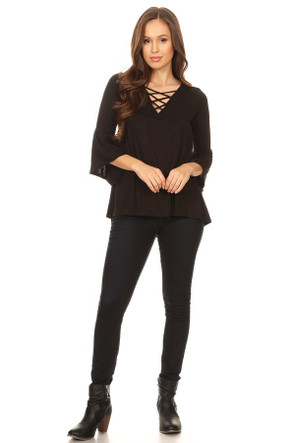 Cross Front Bell Sleeve Blouse