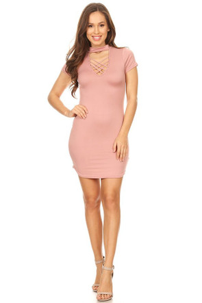 Highneck Cross Front Bodycon Dress
