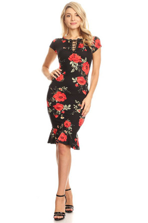 Lace Up Peplum Hemline Dress