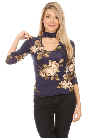 3/4 Sleeve Choker Top