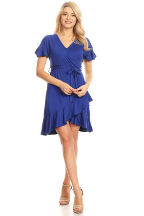 Knit Wrap Ruffle Dress