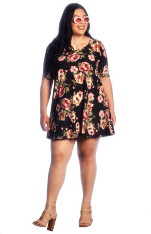 "Plus ""Floral"" Brushed Swing Dress"