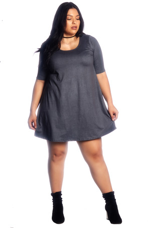 "Plus ""Solid"" Brushed Swing Dress"