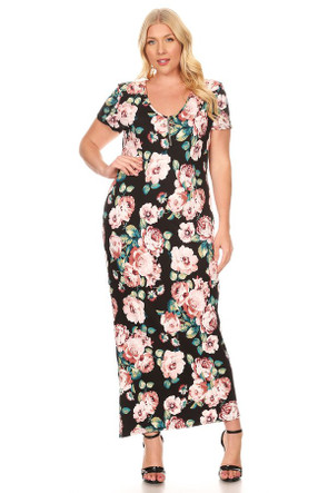 Plus Circle Zipper Maxi Dress