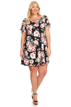 Plus Ruched Cap Sleeve Swing Dress