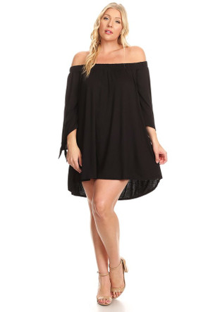Plus Off Shoulder Angel Tie Sleeve Dress