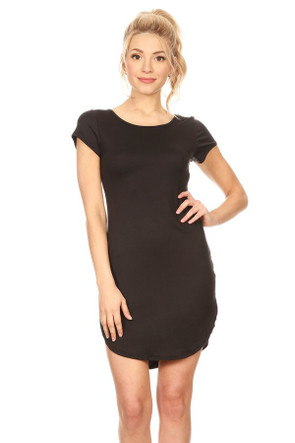 """Solid"" Curved Hem Body Con Dress"