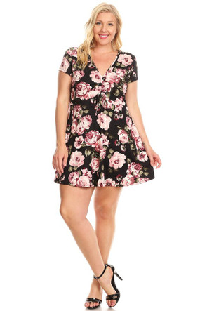 Plus Cinch Front Swing Dress