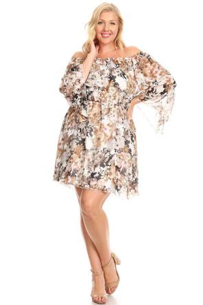 Plus Woven Angel Sleeve Dress