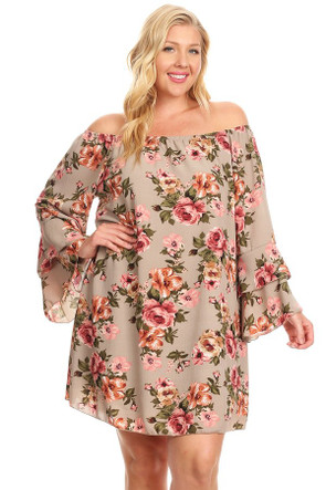 Plus Woven Off The Shoulder Sleeve Dress
