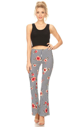Striped Floral Bell Bottom Pant