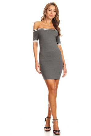 Varsity Stripe Off The Shoulder Bodycon
