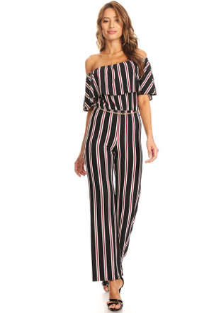 """Striped"" Knit Off-Shoulder Jumpsuit"