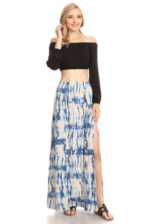 """Tie Dye"" Double Split Maxi Skirt"