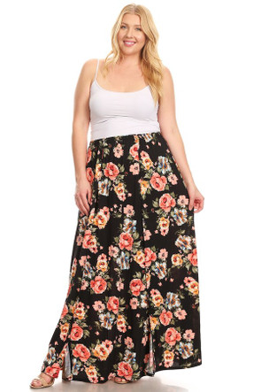 Plus Double Split Maxi Skirt