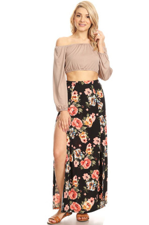 Floral Double Split Maxi Skirt