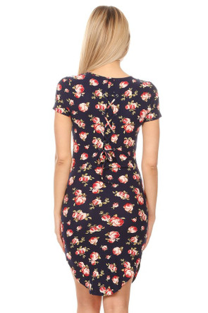 Gromet Back Tie Body Con Dress
