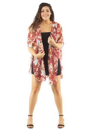 Plus Woven Side Slit Kimono